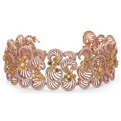 18k Rose Gold 20.39CTW Diamond Bracelet, (VS1-VS2/SI1-SI2/F-G/Fan)