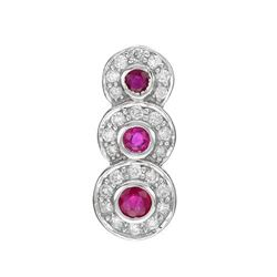 14k White Gold 0.52CTW Ruby and Diamond Pendant, (I1-I2/Purple-Red/H-I)