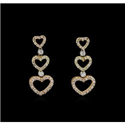1.33 ctw Diamond Earrings - 18KT Two-Tone Gold