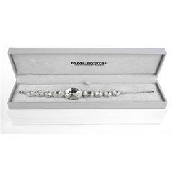 925 Silver Oval Clear Swarovski Elements Bracelet 30ct.