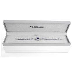 Ladies .925 Silver Sapphire Blue and Swarovski Element Bracelet.