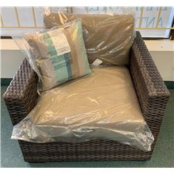 Lot (2) New Wicker Chairs with Cushions