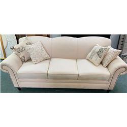 "'NEW' White Sofa 88x33"" with Throw Cushions"