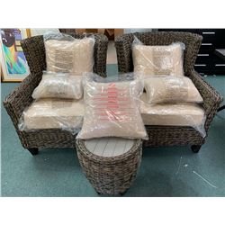 Lot (2) New Wicker Outdoor Patio Tub Chairs with Ottoman and Cushions