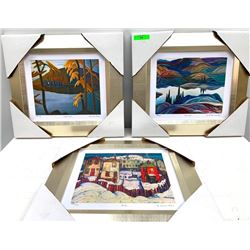 """Group of (3) Group of Seven Artists Studio Panel, Lithos 15x15"""""""