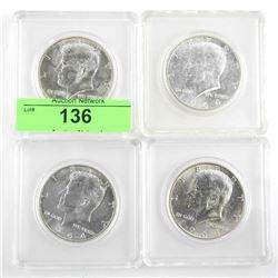 Lot (4) USA Kennedy 1964 90% Silver Half Dollar