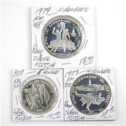Lot (3) Proof Silver Russian Coins, 1978 5 Rouble, 2x 1979, 10 Roubles (KC)