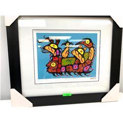 """Christian Morrisseau (1969-) Serigraphic 'Woodland Artist' Signed 23/60 18x22"""" Framed"""