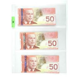 Group of (3) 2008 50.00 Notes