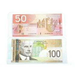 Lot (2) Bank of Canada 2004 Notes 50.00 and 100.00