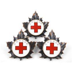 Lot (3) Korean War Era Canadian Red Cross Corp Badges.