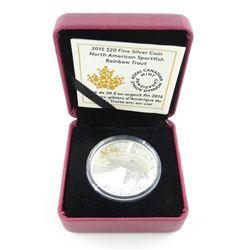 RCM 2015 $20.00 .9999 Fine Silver Coin 'Rainbow Trout'