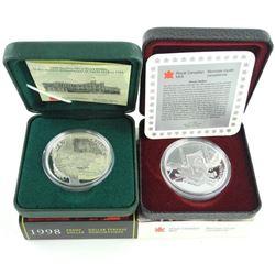 Lot (2) 925 Silver Proof Dollars: 1997 - Hockey, 1998 RCMP