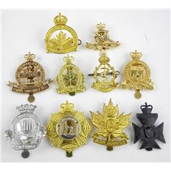 Estate Lot (10) Assorted KING and QUEEN'S Crown Canadian Cap Badges