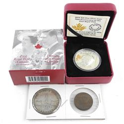 First Royal Visit to Canada 1939 .9999 Fine Silver $25.00 Coin, Silver Dollar and Bronze Medal