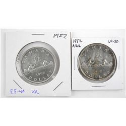 Lot (2) 1952 CANADA Silver Dollars: Waterline and No Waterline