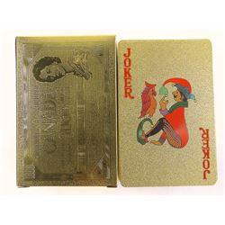 24kt Gold Leaf Playing Card Set, 1000.00 Bill on Backs
