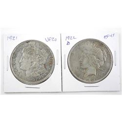 Lot (2) USA Silver Dollars: 1922(D) and 1921 VF20