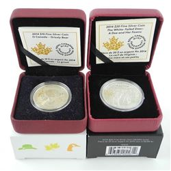 Lot (2) .9999 Fine Silver $10.00 and $20.00 Coins 'Grizzly Bears' and 'White Tailed Deer' LE