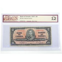 Bank of Canada 1937 Two Dollar Note Fine 12. BCS