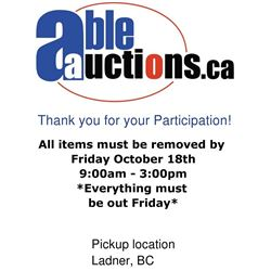 ALL ITEMS MUST BE REMOVED BY FRIDAY 3:00PM