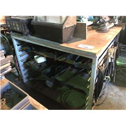 MOBILE WORK BENCH/RACK WITH CONTENTS INCLUDING POWER INVERTER, EXTENSION CABLES, MARINE ENGINE