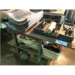 MOBILE WORK BENCH/RACK WITH CONTENTS INCLUDING MARINE ENGINE PARTS, ASSORTED TOOLS AND MORE
