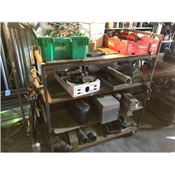 MOBILE RACK WITH CONTENTS INCLUDING  ASSORTED TOOLS, CABLING, ENGINE PARTS AND MORE