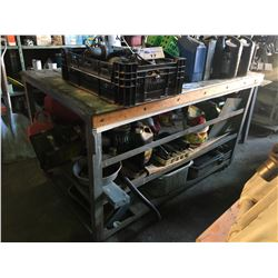 MOBILE WORK BENCH WITH CONTENTS INCLUDING  PARTS, TOOLS, OILS AND MORE