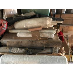 LARGE LOT OF ASSORTED FABRIC, FIBREGLASS ROLLS, UPHOLSTERY, CUSHIONS AND MORE