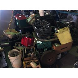 LARGE LOT OF MARINE ENGINE PARTS IN THE AREA IN FRONT OF RACKING