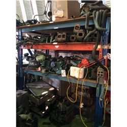 CONTENTS ON/UNDER LEFT BAY OF RACKING INCLUDING MARINE ENGINE PARTS AND MORE