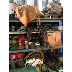 CONTENTS ON/UNDER RIGHT BAY OF RACKING INCLUDING MARINE ENGINE PARTS AND MORE