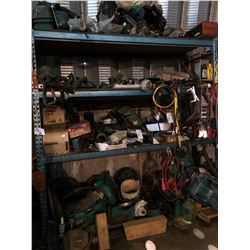 CONTENTS ON/UNDER RACKING INCLUDING MARINE HEAVY DUTY ENGINE PARTS AND MORE
