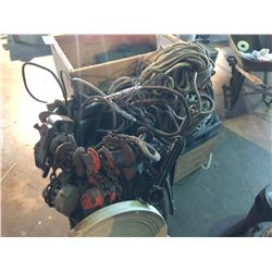 LOT OF ASSORTED ROPE, CABLE, CHAIN CINCHES AND MORE