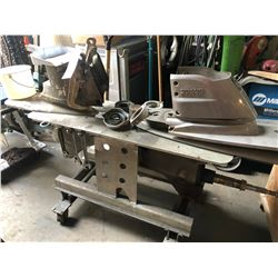 MOBILE SERVICING CART WITH ASSORTED ENGINE PARTS