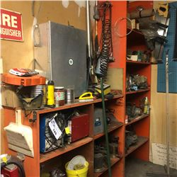 CONTENTS OF LEFT WALL OF TOOL ROOM INCLUDING BATTERY CHARGERS, TOOLS AND MORE.