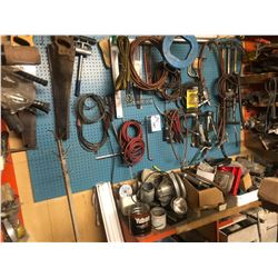 CONTENTS OF BACK WALL INCLUDING AIR LINE, TOOLS, PARTS AND MORE