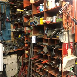CONTENTS OF RIGHT WALL OF TOOL ROOM INCLUDING HAND TOOLS, PARTS AND MORE