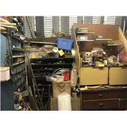 CONTENTS OF MIDDLE AND OUTER AREA OF PARTS ROOM INCLUDING TOOLS, PARTS, PARTS BIN AND MORE