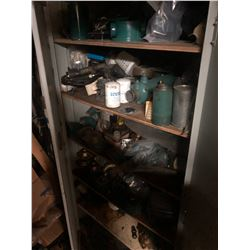 LEFT STORAGE CABINET AND CONTENTS INCLUDING ENGINE PARTS, TOOLS AND MORE