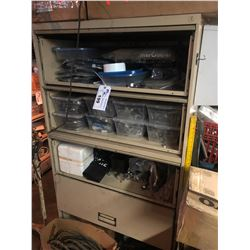 END STORAGE CABINET AND CONTENTS INCLUDING NEW BOAT CONTROL LINE AND ASSORTED PARTS