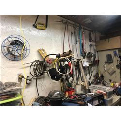 REMAINING CONTENTS ON WALL/CEILING INCLUDING WRENCHES, HAND TOOLS, DRILL BITS, THREADED ROD,