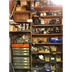 CONTENTS OF END BAYS OF SHELVING INCLUDING HARDWARE, MOTOR PARTS, PARTS, PARTS STORAGE AND MORE
