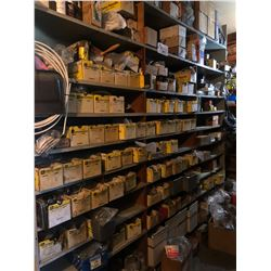 CONTENTS OF 4 BAYS OF SHELVING INCLUDING ASSORTED BOLTS, HARDWARE, AIR LINE AND MORE