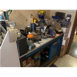 WORK BENCH AND CONTENTS INCLUDING LARGE QUANTITIES OF TAPE, HARDWARE AND MORE
