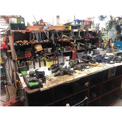 TOOL BENCH AND REMAINING CONTENTS INCLUDING HAND TOOLS AND MORE