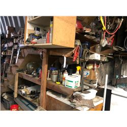 CONTENTS ON SHELVES UNDER STAIRS INCLUDING PARTS, HAND TOOLS AND MORE