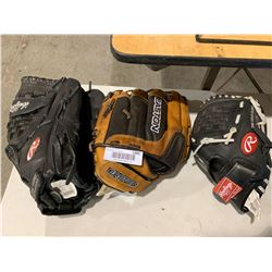 Lot of 3 Baseball Mitts