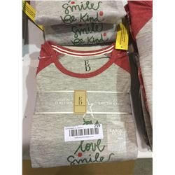 Ellen Degeneres Youth Knit Tee and Fleece Pajama Set Grey - Youth Large Size 10-12